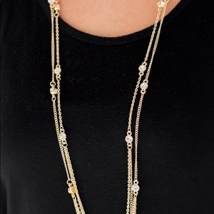 Jewelry - Lanyard Gold Necklace with Earrings